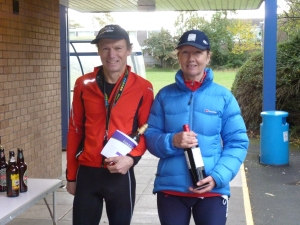 Paul Adkins and Alexis Dinsmor, winners of the over 60 category